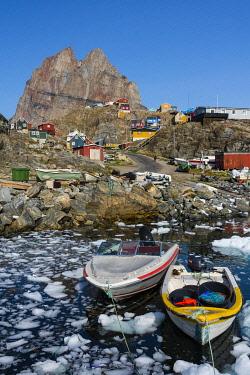 GR01IHO0319 Greenland. Uummannaq. Ice fills the harbor.