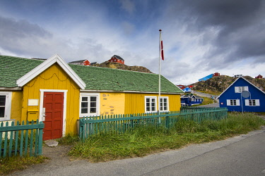 GR01IHO0346 Greenland. Sisimiut. Colorful buildings of the history museum.