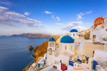 EU12BJY0035 Greece, Oia. Greek Orthodox church and village
