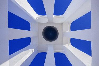 EU12BJY0057 Greece, Santorini. Looking up at bell tower of Greek Orthodox church