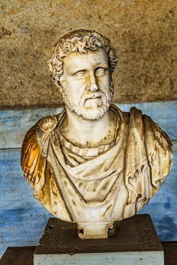 EU12WPE0076 Ancient Emperor Antoninus Pius bust, Stoa of Attalos, Agora, Athens, Greece. Statue 138-161 AD Stoa built in 150 BC