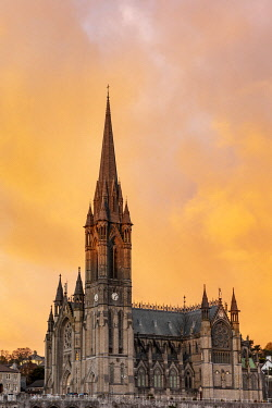 EU15CHA0010 Sunset clouds over St. Colman's Cathedral in Cobh, Ireland