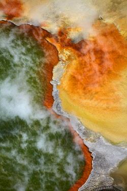 AU03DWA0509 Champagne Pool and Artists Palette, Waiotapu Thermal Reserve, near Rotorua, North Island, New Zealand