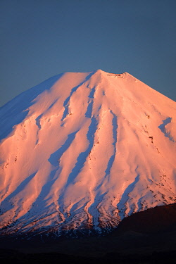 AU03DWA0728 Alpenglow on Mt. Ngauruhoe at dawn, Tongariro National Park, Central Plateau, North Island, New Zealand