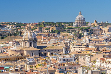 IT395RF Italy, Lazio, Rome, St Peters Basilica and Rome rooftops