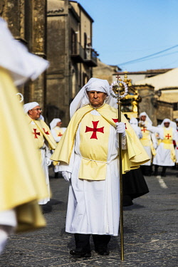 ITA14622 Italy. Sicily.Enna. Good Friday Processions a direct influence deriving from the Spanish rule on the island, in the hsitoric mountain town of Enna.