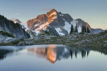 US48AMA0084 Whatcom Peak reflected in Tapto Lake, North Cascades National Park