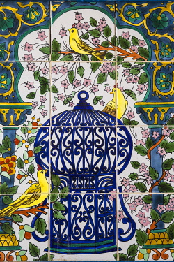 TU122RF Tunisia, Kairouan, Medina, Tiles on the wall of the souk