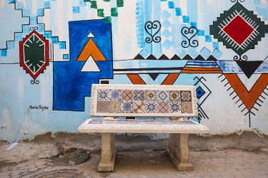 TU02187 Tunisia, Kairouan, Madina, A colourful tiled bench