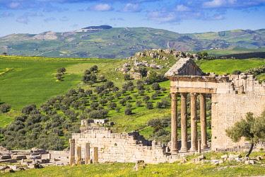 TU02197 Tunisia, Teboursouk, Dougga archaeological site, The Capitol, a Roman temple