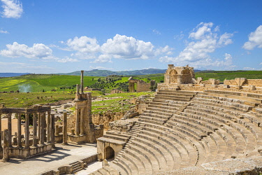 TU02215 Tunisia, Teboursouk, Dougga archaeological site, Roman Amphitheatre