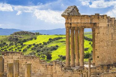 TU02249 Tunisia, Teboursouk, Dougga archaeological site, The Capitol, a Roman temple