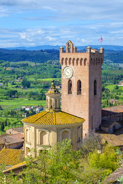ITA14657AW Cathedral of Sant'Assunta and Santo Genesio and the cathedral's campanile, the Matilde Tower, San Miniato, Tuscany, Italy, Europe.