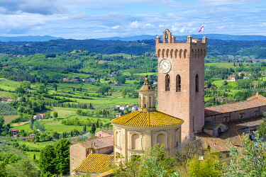 ITA14658AW Cathedral of Sant'Assunta and Santo Genesio and the cathedral's campanile, the Matilde Tower, San Miniato, Tuscany, Italy, Europe.