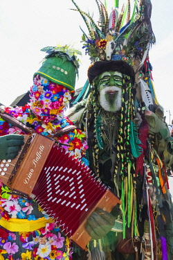 TPX71092 England, East Sussex, Hastings, The Annual Traditional Jack in the Green Festival aka The Green Man May Day Festival, Parade Participant in Costume