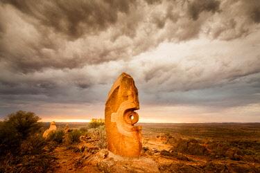 AUS3222AW Desert sculpture, 'Under The Jaguar Sun'  by Mexican Indian artist Antonio Nava Tirado. Broken Hill, Far West, New South Wales, Australia