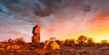 AUS3223AW Desert sculpture, 'Under The Jaguar Sun'  by Mexican Indian artist Antonio Nava Tirado. Broken Hill, Far West, New South Wales, Australia