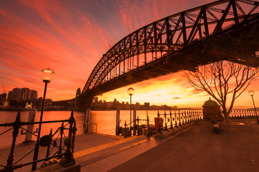 AUS3505AW Stunning sunrise at Ives Steps Wharf,  Dawes Point in Sydney Harbour. Sydney Harbour Bridge, Sydney, New South Wales, Australia