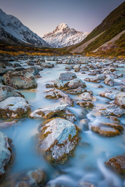 NZ9356AW Boulder strewn Hooker River and Mount Cook. Mount Cook, Otago, South Island, New Zealand