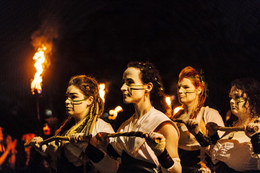 UK. Scotland. Edinburgh. The Beltane Fire Festival held yearly atop Calton Hill to celebrate the coming of Summer, a modern interpretation of Ancient Druid Celtic Culture.