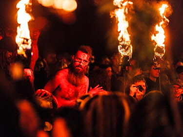 SCO35499 UK. Scotland. Edinburgh. The Beltane Fire Festival held yearly atop Calton Hill to celebrate the coming of Summer, a modern interpretation of Ancient Druid Celtic Culture.
