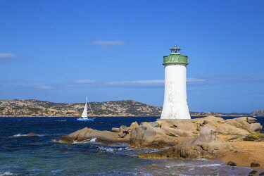 IT12319 Italy, Sardinia, Sassari Province, Palau, Porto Faro Lighthouse with La Maddalena island in distance