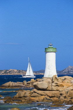 IT12330 Italy, Sardinia, Sassari Province, Palau, Porto Faro Lighthouse with La Maddalena island in distance
