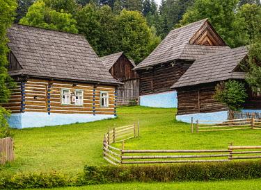SLV1548AWRF Huts in Open Air Museum at Stara Lubovna, Presov Region, Slovakia