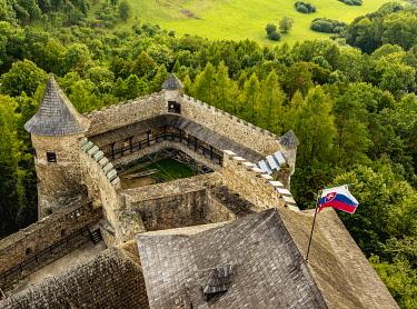 SLV1525AW Castle in Stara Lubovna, elevated view, Presov Region, Slovakia