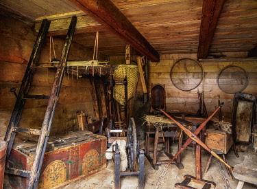 SLV1526AW Hut interior, Open Air Museum at Stara Lubovna, Presov Region, Slovakia