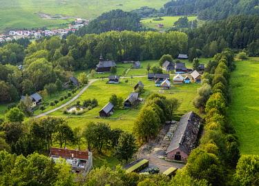 SLV1527AW Open Air Museum at Stara Lubovna, elevated view, Presov Region, Slovakia