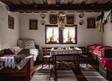 SLV1528AW Hut interior, Open Air Museum at Stara Lubovna, Presov Region, Slovakia