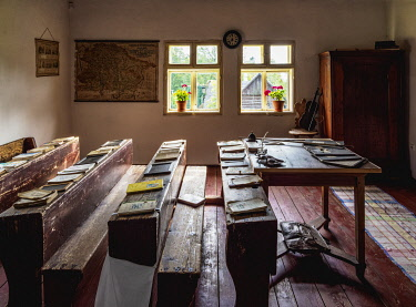 SLV1530AW School interior, Open Air Museum at Stara Lubovna, Presov Region, Slovakia