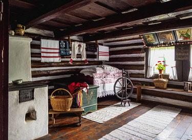 SLV1531AW Hut interior, Open Air Museum at Stara Lubovna, Presov Region, Slovakia