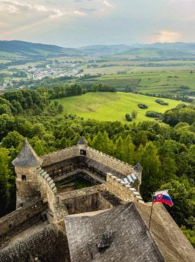 SLV1534AW Castle in Stara Lubovna, elevated view, Presov Region, Slovakia