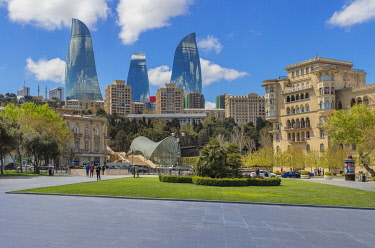 AZ040RF Flame Towers skyscrapers, 2013, Baku, Azerbaijan