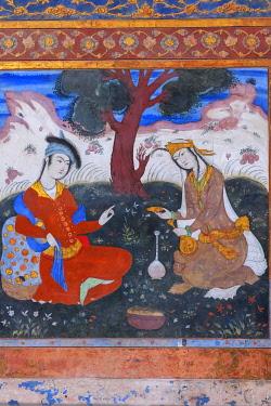 IR01403 Wall painting, Chehel Sotoun, garden palace, interior, Isfahan, Isfahan Province, Iran