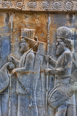 IR01433 Relief, Apadana Palace, Persepolis, ceremonial capital of Achaemenid Empire, Fars Province, Iran
