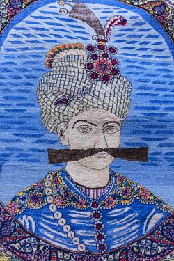 IR01456 Portrait of Shah Abbas the Great, Traditional Persian carpet, Carpet Museum of Iran,Tehran, Iran
