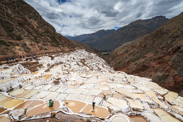 PER34392AWRF Elevated view of workers at Maras salt marsh terraces, Salinas de Maras, Cuzco Region, Peru