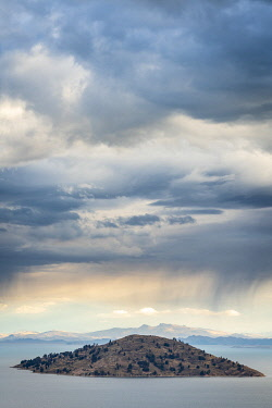 PER34344AW Island on Lake Titicaca viewed from top of Amantani Island, Puno Region, Peru
