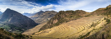 PER34368AW Panoramic view of terraces at Pisaq, Calca Province, Cuzco Region, Peru