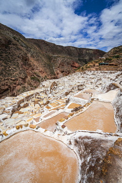 PER34371AW High angle view of Maras salt marsh terraces, Salinas de Maras, Cuzco Region, Peru