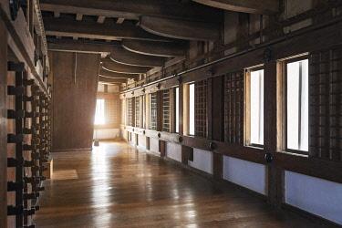 JAP2058 Interior detail of Himeji Castle, Kitayashiro, Kitayashiro, Hyogo Ken, Japan.