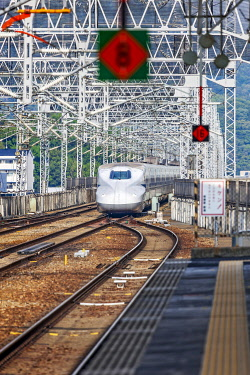 JAP2062 Japanese Sanyo Shinkansen N700A high speed bullet train arriving at Gozasoro Himeji Station, Himeji, Minamikurumazaki, Hyogo Ken, Japan.