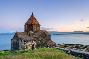 ARM0308AWRF Sevanavank church on Lake Sevan at sunset, Sevan, Gegharkunik Province, Armenia