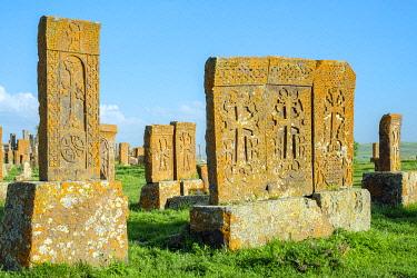 ARM0319AWRF Historic Khachars at Noratus Cemetery, Noraduz (Noratus), Gegharkunik Province, Armenia
