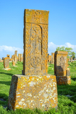 ARM0323AWRF Historic Khachars at Noratus Cemetery, Noraduz (Noratus), Gegharkunik Province, Armenia