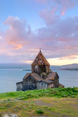 ARM0243AW Sevanavank church on Lake Sevan at sunset, Sevan, Gegharkunik Province, Armenia