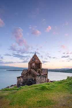 ARM0272AW Sevanavank church on Lake Sevan at sunset, Sevan, Gegharkunik Province, Armenia